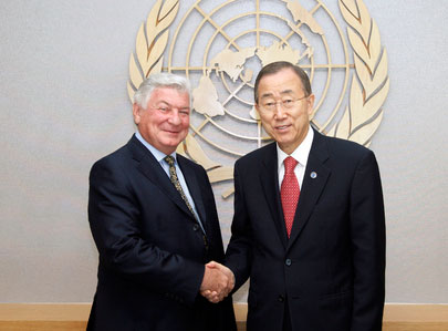 UN Secretary-General Ban Ki-moon (Right) met with Mr.Rosen ,Chairman of the American Jewish Congress on 5th July 2011
