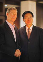 Mr.Rockefeller Jr. (R) and famous entrepreneur Mr. Wu Zhuangtian
